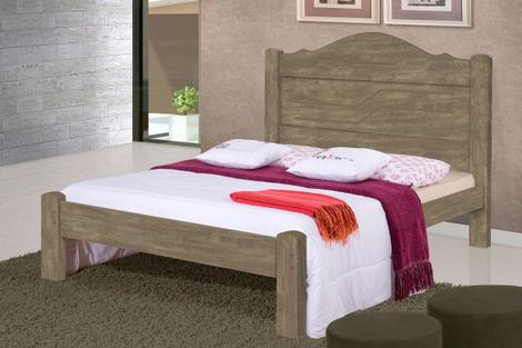 Cama casal thalia estrado reforçado noce - cambel - cama de
