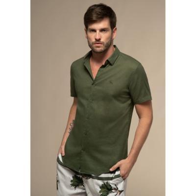 Camisa acostamento manga curta comfort linho