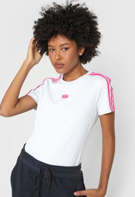 Camiseta adidas originals estampada branca