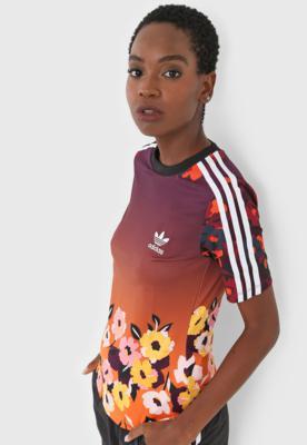 Camiseta adidas originals slim roxo/laranja