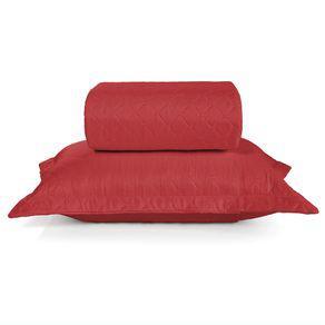 Colcha com porta-travesseiro hedrons treviso queen vermelho