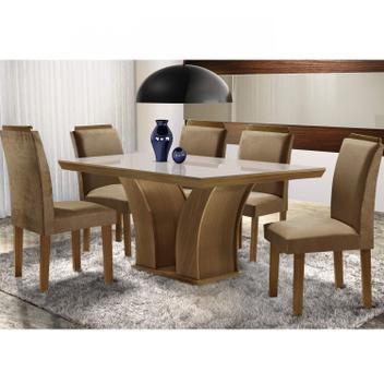 Conjunto sala de jantar mesa tampo mdf/tampo vidro leblom 6