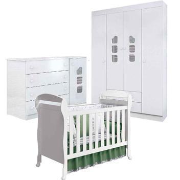 Jogo de quarto de bebê guarda roupa 4 portas, cômoda ana