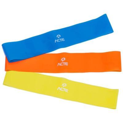 Kit mini band acte sports t71, cor: azul/laranja/amarelo,