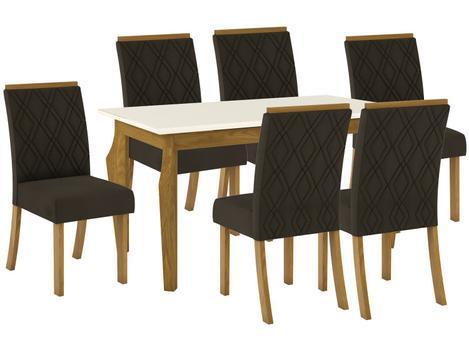 Mesa de Jantar 6 Lugares Retangular Tampo de Vidro - Henn