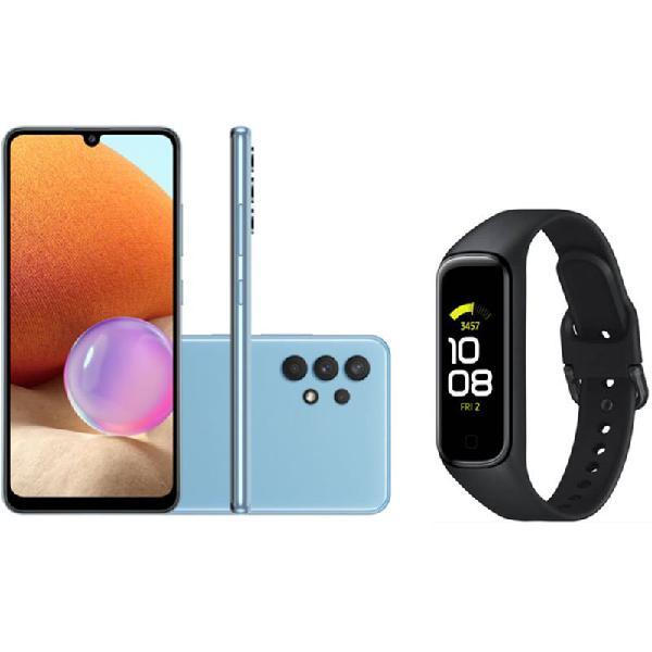 Smartphone samsung galaxy a32 câmera 64mp azul e smartwatch