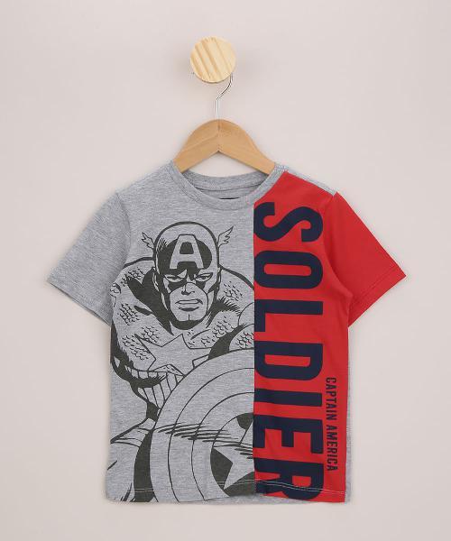 Camiseta infantil capitão américa com recorte manga curta