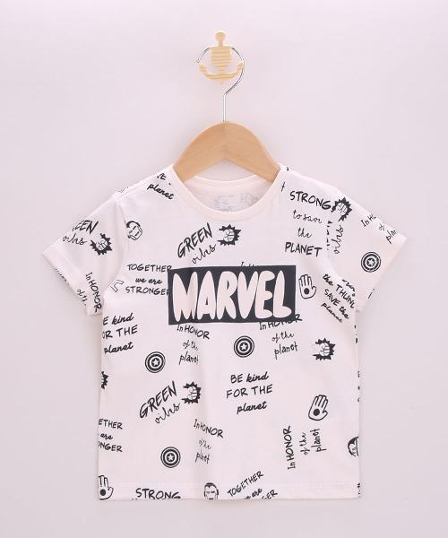 Camiseta infantil marvel manga curta off white