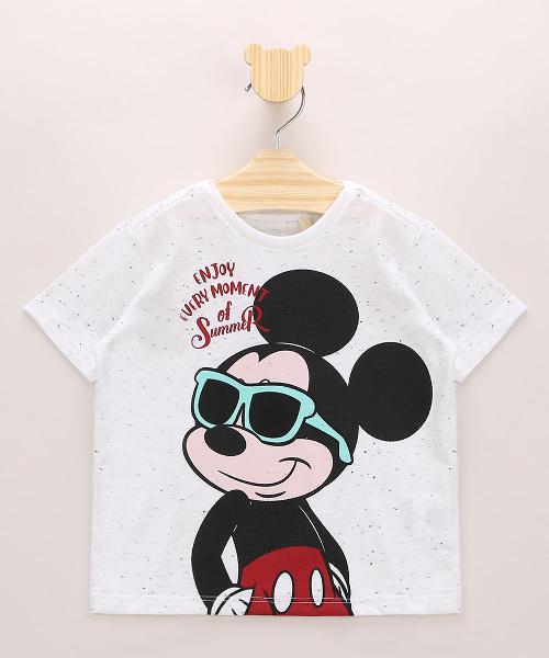 Camiseta infantil mickey botonê manga curta off white