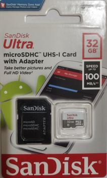 Cartão de memória 32gb micro sd ultra classe 10 sandisk -