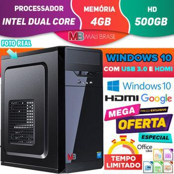 Computador pc cpu intel dual core 3.1ghz com hdmi 4gb hd