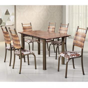 Conjunto de mesa retangular tampo de madeira 6 cadeiras