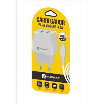 Kit carregador 3.4a 2 usb + cabo type-c 1m sumexr sx-f15-c -