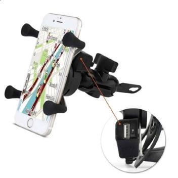 Suporte celular carregador fixação por garra e porta usb -