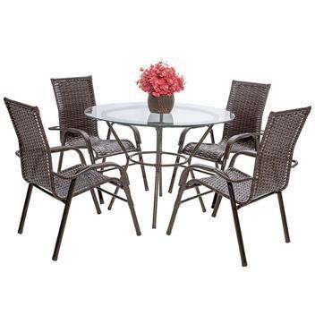 4 cadeiras e 1 mesa alta com tampo bela, jardim, fibra