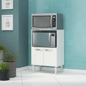 Balcão 2 portas para forno e micro-ondas felllicci branco -