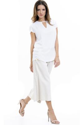 Blusa 101 resort wear crepe forrado decote vazado manga