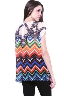 Blusa 101 resort wear tunica ampla decote careca estampada