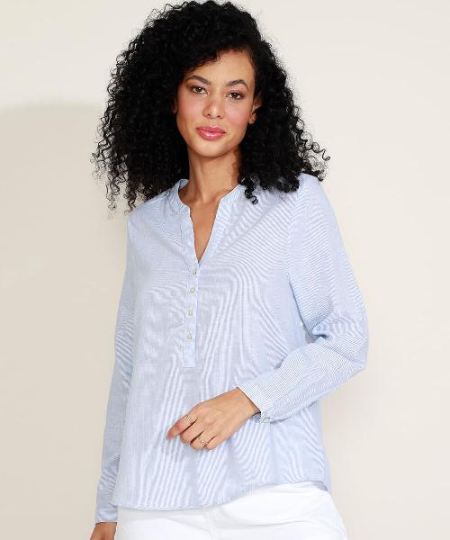 Blusa feminina com linho listrada com botões manga longa