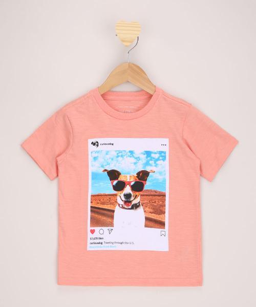 "Camiseta infantil cachorro ""curious dog"" manga"