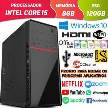 Computador pc cpu intel core i5 com hdmi 8gb ssd 120gb