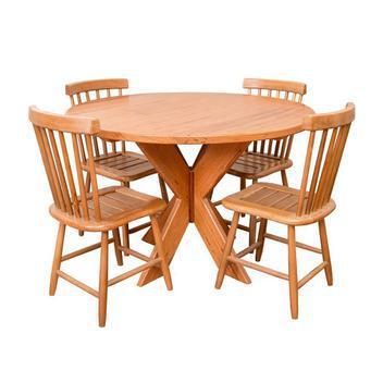 Conjunto mesa jantar redonda 1,20m 4 cadeiras country