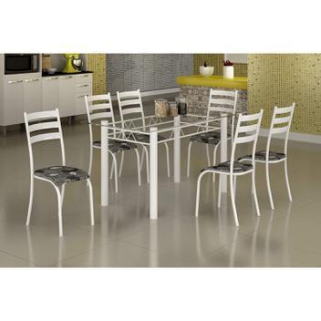 Conjunto mesa com tampo vidro e 6 cadeiras madmelos