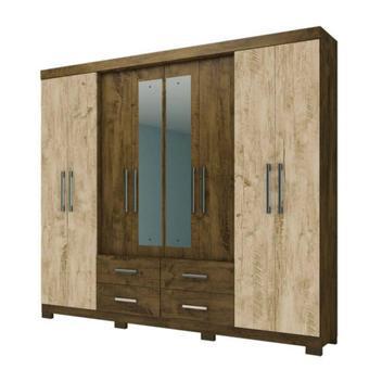 Guarda roupa casal c/espelho san lorenzo castanho avela wood