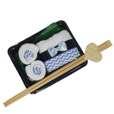 Kit meia presente baby chocolate sushi azul