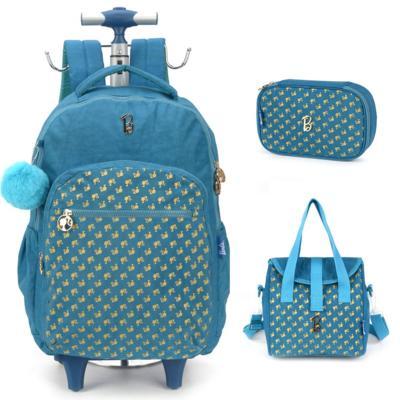 Kit mochila infantil com rodinhas barbie com lancheira e