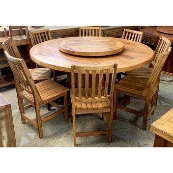 Mesa redonda 140x140 prato giratório 8 lugares madeira (só