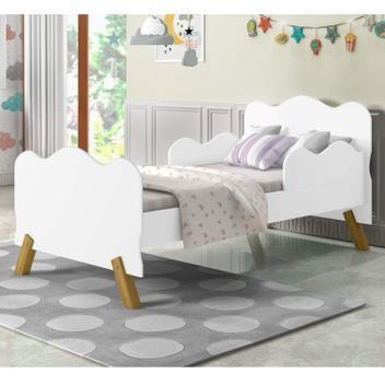 Mini cama infantil com proteção lateral vj móveis branco