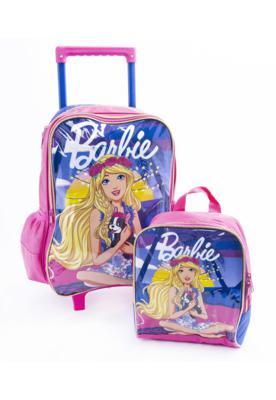 Mochila de rodinhas lancheira barbie azul/rosa