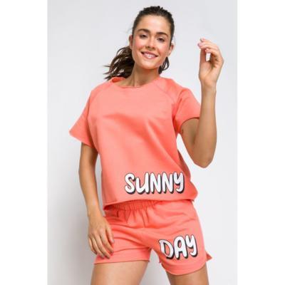 Pijama manga curta acuo pijama manga curta laranja