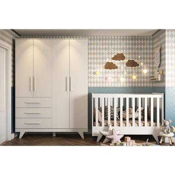 Quarto de bebê com guarda roupa infantil 4 portas lisas e