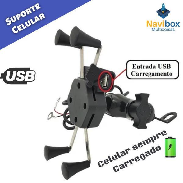 Suporte celular moto gps com carregador usb