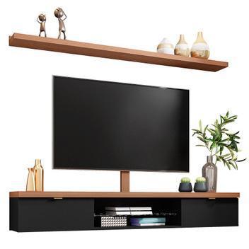 Bancada suspensa 180cm com prateleira e suporte para tv até