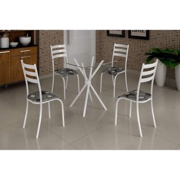 Conjunto mesa 75x75 tampo vidro e 4 cadeiras madm