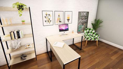 Mesa escritório em l 150cm movary iron irml1515cbcbp home