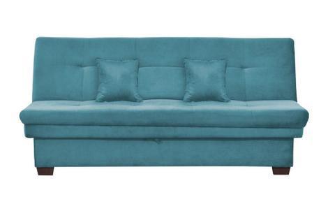 Sofá Cama Casal com Baú Filó - Azul - Matrix - Sofá-Cama