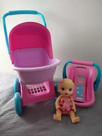 Baby alive boneca, carrinho, bebê conforto e acessórios