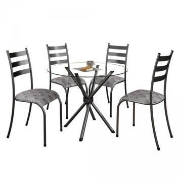 Conjunto mesa com tampo vidro redondo e 4 cadeiras prata