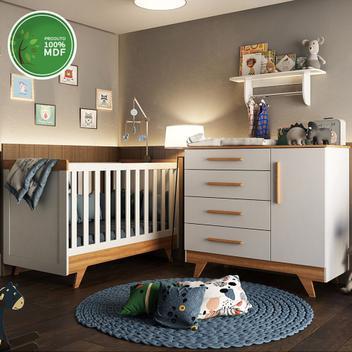 Quarto bebê completo com berço retro, cômoda retrô lisa