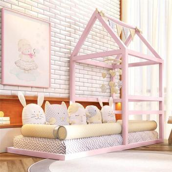 Cama infantil montessoriana menina rosa grão de gente -