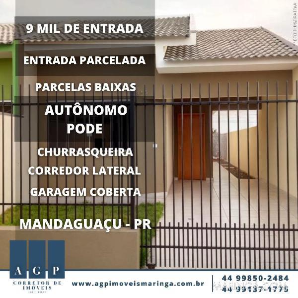 Casa em mandaguaçu - com garagem coberta, corredor lateral,