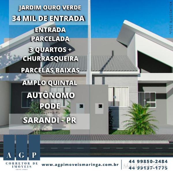 Casa em sarandi - jd ouro verde com churrasqueira + área