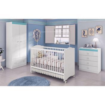 Jogo de quarto infantil completo para bebê branco azul