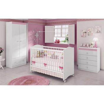 Jogo de quarto infantil completo para bebê branco rosa
