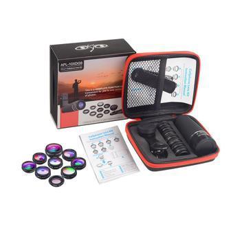 Lente para celular apexel 10 em 1 kit camera foto e video