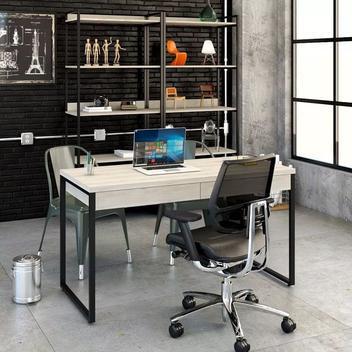 Mesa escritório office estilo industrial 1,35m c/ 2 gavetas